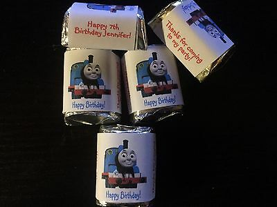 90 Personalized thomas the train Birthday Candy Wrappers Nugget favors stickers (Train Birthday)