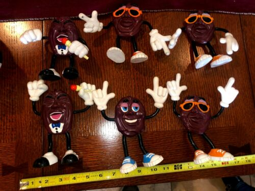 6 CALIFORNIA RAISINS BIG bendable figures