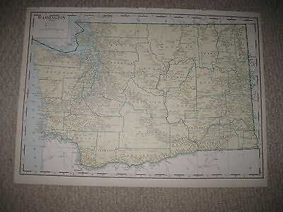 HUGE GORGEOUS FOLIO SIZE ANTIQUE 1930 WASHINGTON STATE MAP SPOKANE SEATTLE RARE