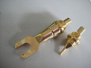 2 Set Monster Lock Spade Fork Pin Speaker Cable Modular