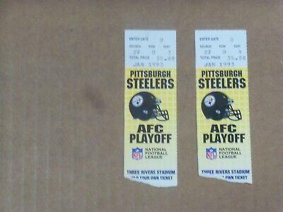 Pgh Steelers, 1992 Season, AFC Playoff Game 1 Tickets (2),  Clean