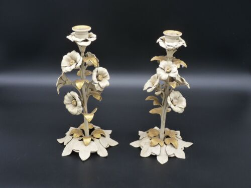 Antique Italian Tole Gold Gilt Rose Cream Painted Rose Buds Candle Holders