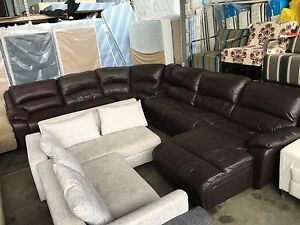 100% LEATHER MODULAR SOFA WITH DOUBLE CHAISE Granville Parramatta Area Preview