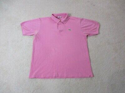 Lacoste Polo Shirt Adult Medium Size 5 Pink Green Crocodile Logo Casual Mens *