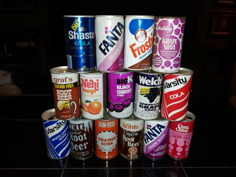 Vintage Soda Can Lot sun rise varsity sure fine nehi frostie elf coke holiday
