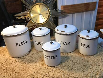 Affordable S Vintage Australian Enamel Graduating Kitchen Canister Set With Canisters Australia