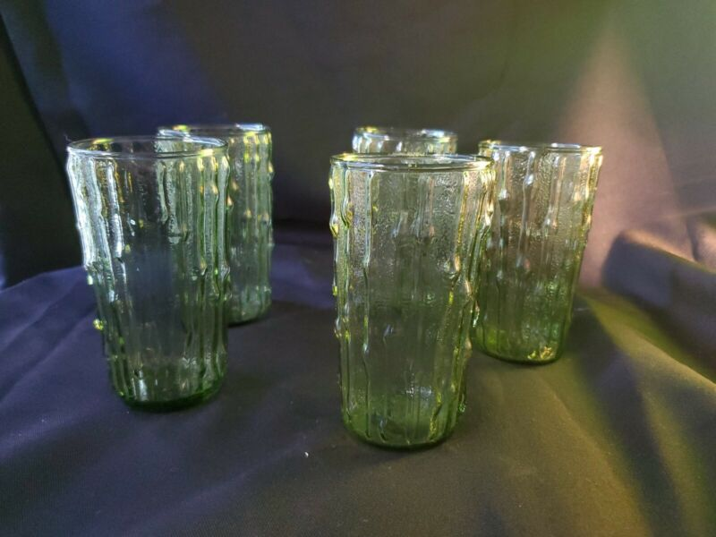 Lot Of 5 Avocado Green Anchor Hocking Juice Drinking Glasses