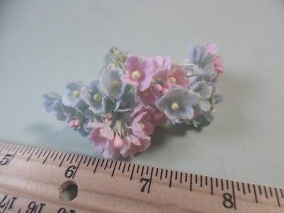 TINY OLD FASHIONED VELVET FLOCKED FLOWERS~SOFT PINK/BLUE~40~MILLINERY~READ DES!