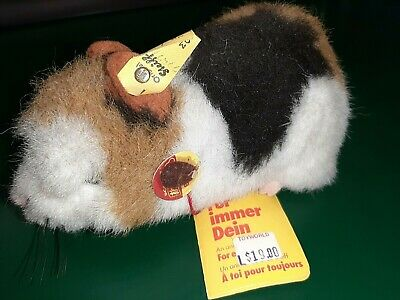 New Steiff  Guinea Pig Button Tag Vintage Toy Hamster White Brown Germany