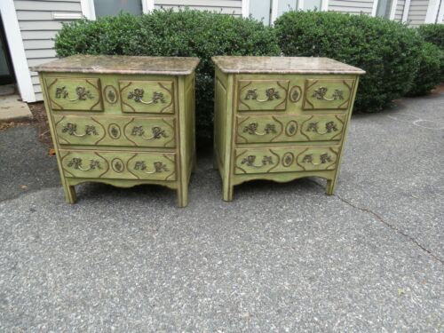 Vintage Pair Italian Marble top chests Venetian painted chest