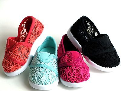 (New Baby Toddler/Infant Girls Classic Crochet Slip On Flat Shoes Size 1-8)