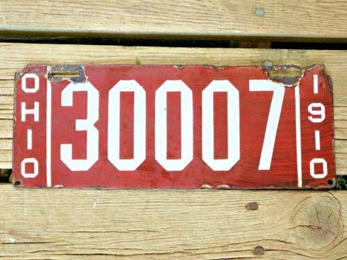 1910 Ohio Porcelain License Plate #30007