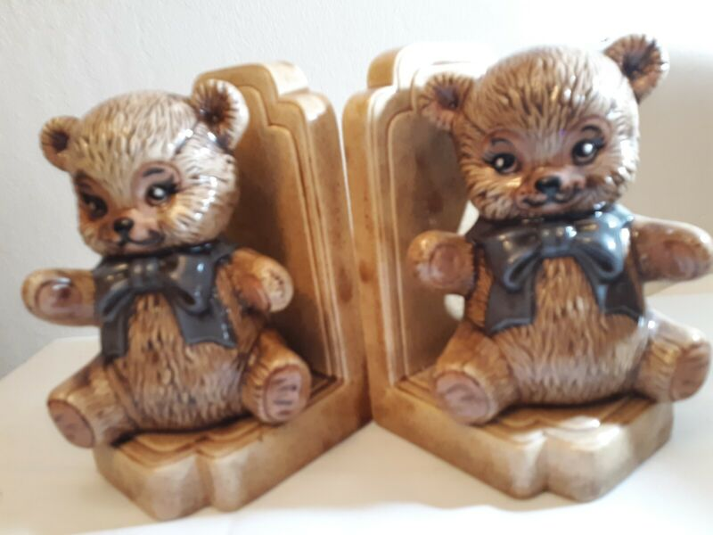Vintage Teddy Bear Ceramic Bookends for Baby Room and/or Nursery  Good Preowned