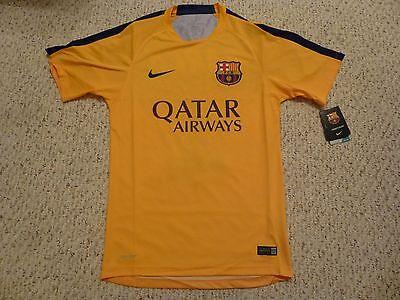 NWT Nike 2015/16 Barcelona Pre Match Yellow Training Jersey (Nike Barcelona Training)