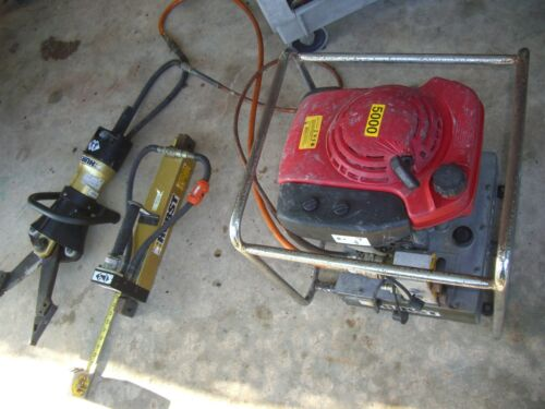 Hurst -Jaws of Life Rescue 5000PSI Hydraulic Pump & Gold X Spreader Cutter & Ram