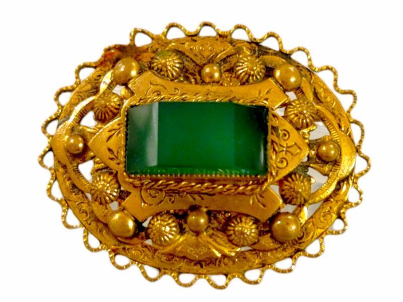 Antique Faux Jade Gold Brooch
