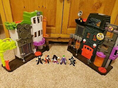 Imaginext Crime Alley 5 Figures Harley Quinn Penguin Joker Batman Bane Playset