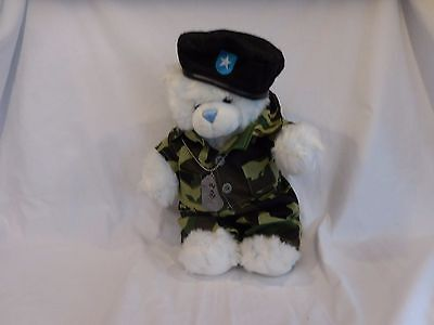 Build a Bear White Bear Military Army Camo Fatigues + Black Beret + Dog Tags (Wear Army Beret)