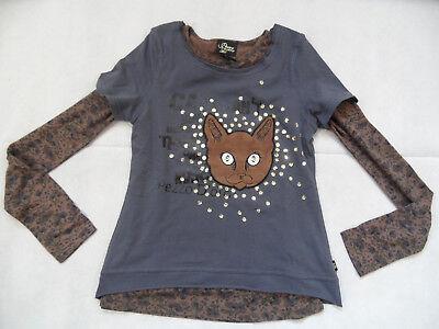 PEZZO DORO schönes 2 in 1 Langarmshirt Katze grau braun Gr. 140 NEU ST818 online kaufen