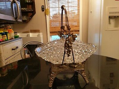 Stunning Uber Rare Antique Silver Plate & Glass Center Piece Bowl