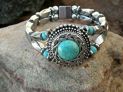Silver Magnetic Hematite Bracelet Anklet 2 Row Chalk Turquoise Chunky Pendant