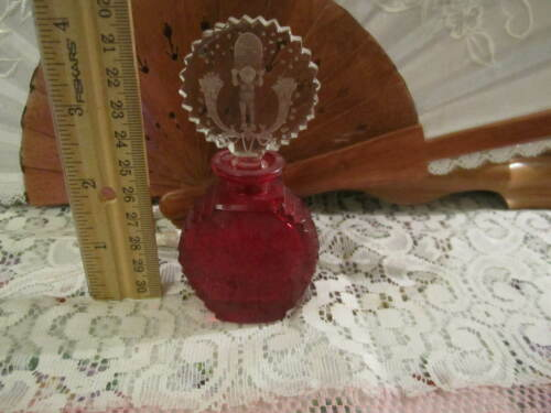 RARE! Antique Czech Ruby Red &Clear Nude Male Glass Perfume Bottle