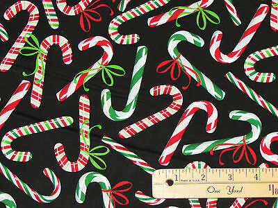 - Holiday Cheer Bowtie Candy Canes Christmas Fabric by the 1/2 Yard  #8394