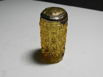 Central Glass Diamond Pressed Amber EAPG Shaker 2 3/4