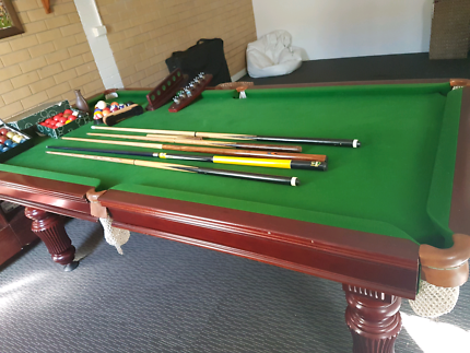 3/4 slate pool table mahogany wood with accessories