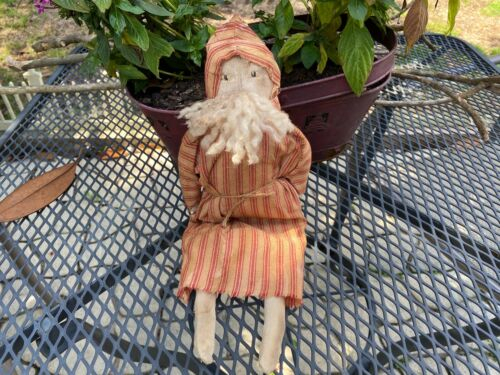 Primitive Santa Doll - red ticking - - Christmas