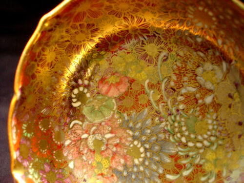 "4"" D MARKED Bizan JAPANESE TAISHO PERIOD THOUSAND FLOWER SATSUMA MINIATURE BOWL"