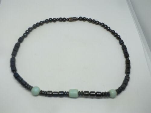 "Beautiful Necklace Choker Black Mint Green Magnetic Beads 1/4"" Wide x 14"" Long"