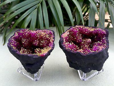 Pink Geode Pair W/Stands Crystal Quartz Gemstone Specimen Morocco Geode Dyed