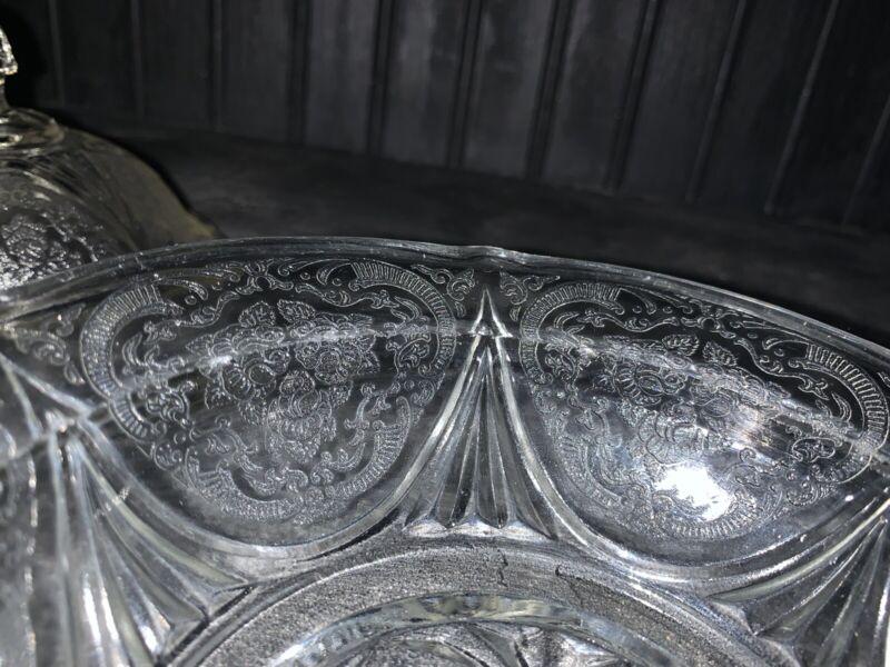 Hazel Atlas Royal Lace Clear Depression Glass Butter Dish