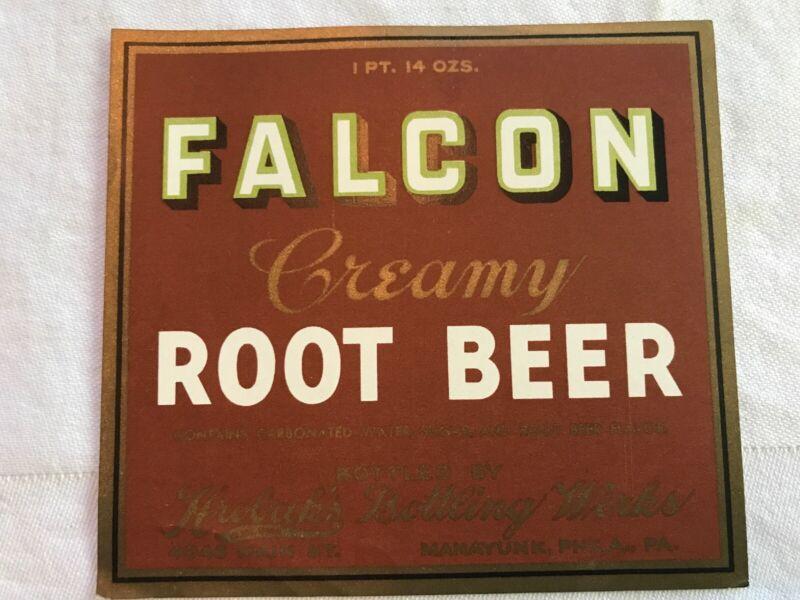 FALCON Vintage Root Beer Label, Hrobuk's Bottling, Manayunk, Phila., Pa.