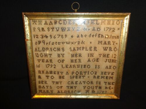 Antique 18th.c Linen Needlework Alphabet & Numbers Sampler by Mary Aldrichs 1792