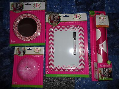 (LOCKER LOOKZ PINK MAGNETIC BUNDLE FLOWER, DRY ERASE BOARD, MIRROR & WALLPAPER)