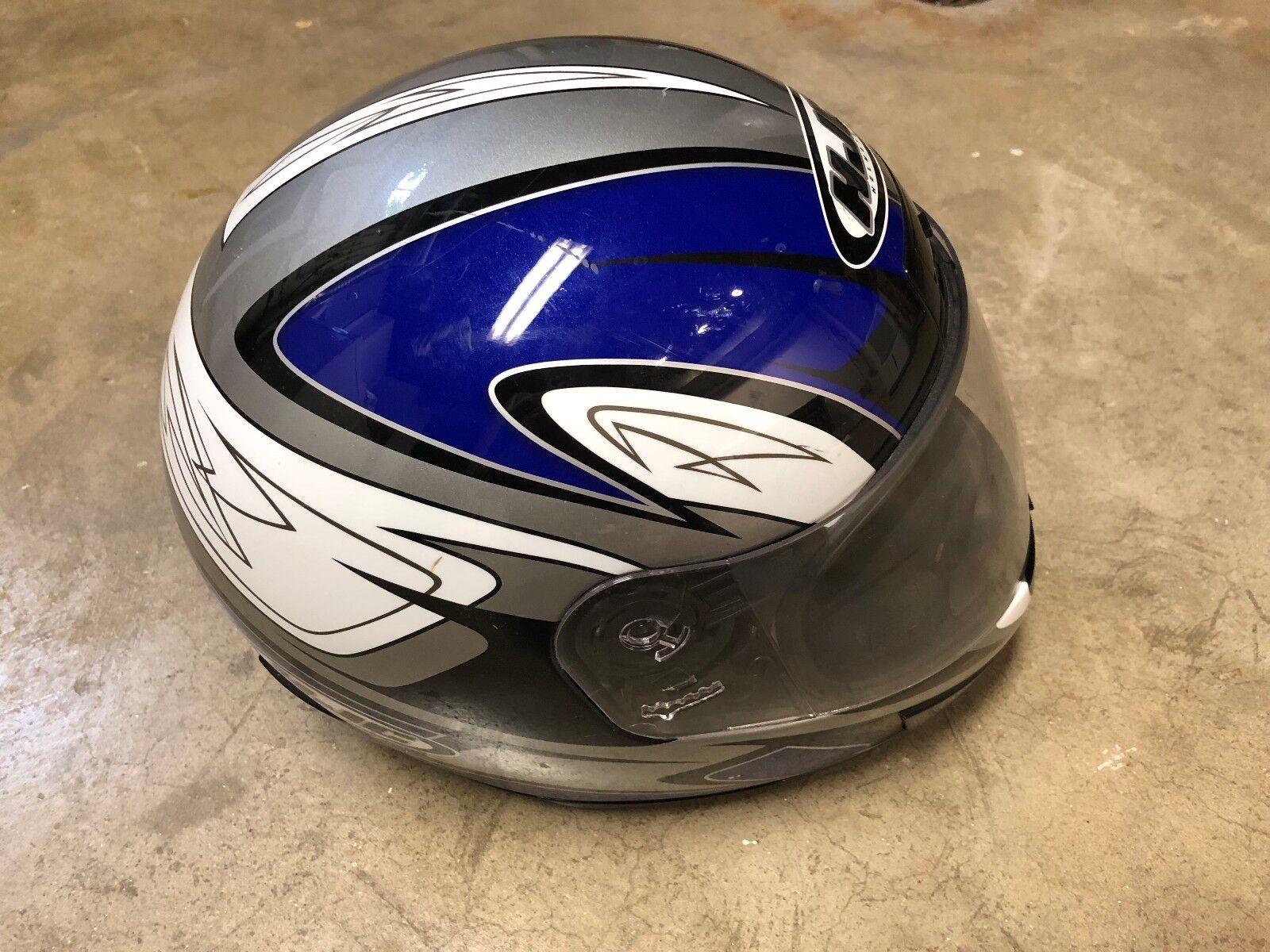 XL - HJC CS-12 Von Breaker Motorcycle Full Face HELMET Blue (7-5/8 to 7-3/4) 62