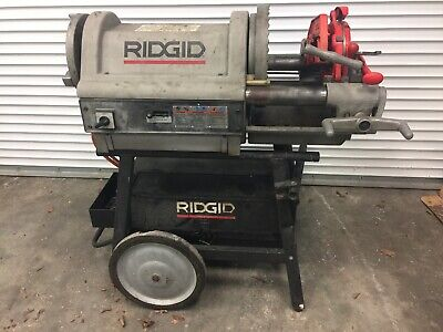 Ridgid 1224 Pipe Conduit Threader 14 To 4 With Dies - Wheel And Cabinet Stand