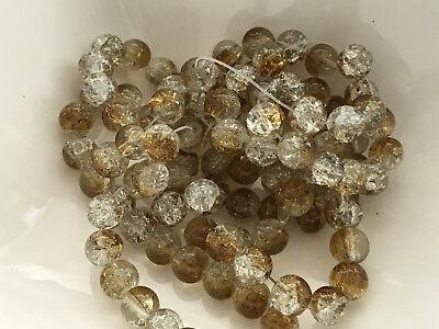 Glasperlen Crackle braun beige klar 8 mm 104 Stück Schmuck Basteln Perlen G90