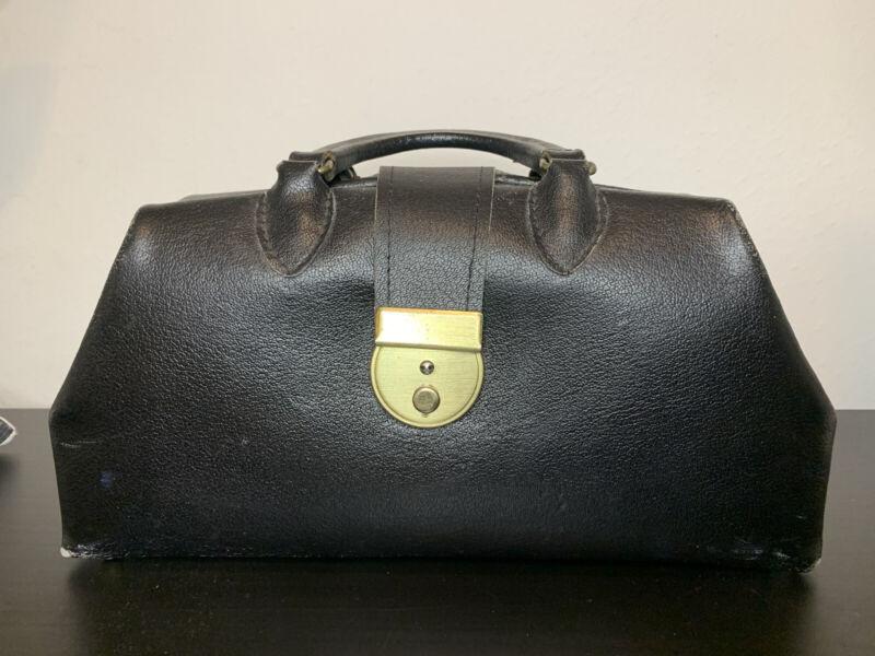 Antique Leather Doctors Bag Travel Duffel Case Black Distressed Brass Latch Vtg