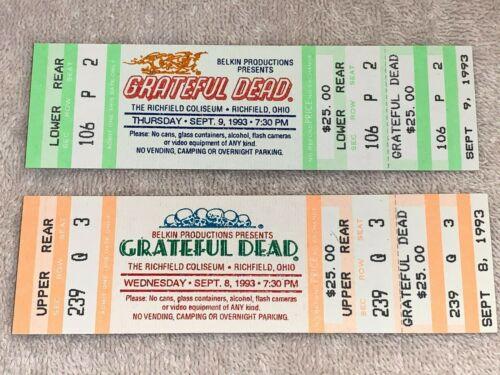 THE GRATEFUL DEAD 2 UNUSED  💚 CONCERT TOUR TICKETS RICHFIELD OHIO Jerry Garcia