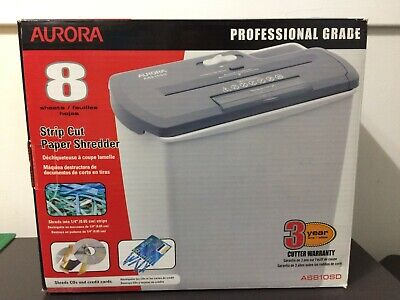 Aurora As810sd 8-sheet Strip-cut Paper Cd And Credit Card Shredder Basket