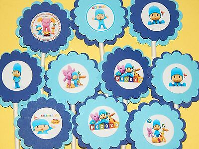 30 Pocoyo Cupcake Toppers Birthday Party Favor  Baby Shower Decoration