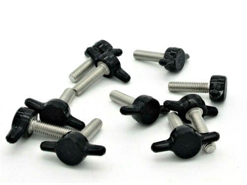 "10-32 X 3/4"" Thumb Screws Tee Wing  Black Delrin Head  SS  5 per package"