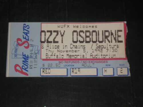 OZZY OSBOURNE/ALICE IN CHAINS 1992 CONCERT TICKET STUB**BUFFALO NEW YORK*11/5/92