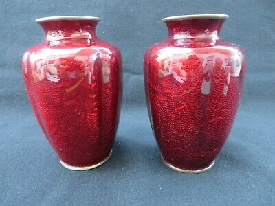 Pair (2) of Antique Japanese Cloisonne Pigeon Red Vases Melon shaped