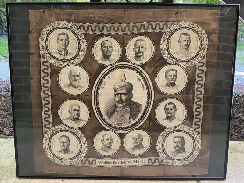 Original World War 1 WW1 Imperial German Tapestry Deutsche Heerführer 1914=1915
