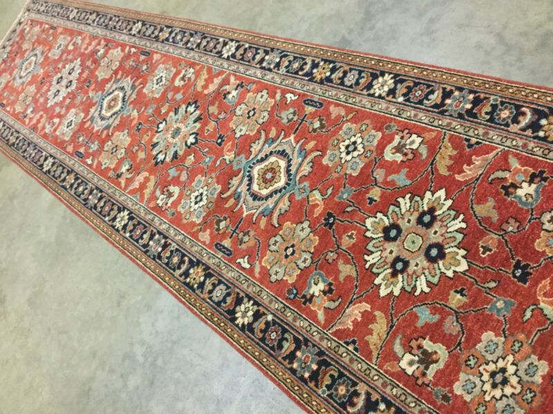 Persian Oriental Rug Runner Hand Knotted Rust Navy Blue Mahal 2