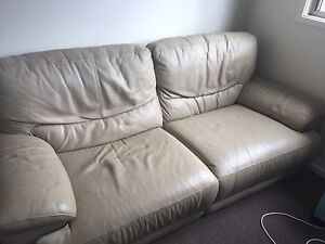 Leather Couch - Beige Wakerley Brisbane South East Preview